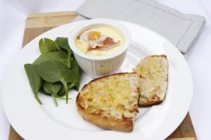 Baked eggs, ham, spinach, mushroom and baked eggs