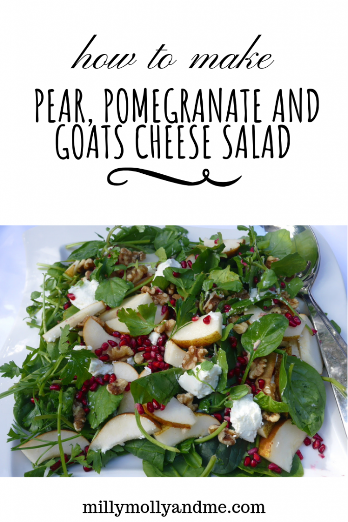 Pear, Pomegranate and Goats Cheese Salad