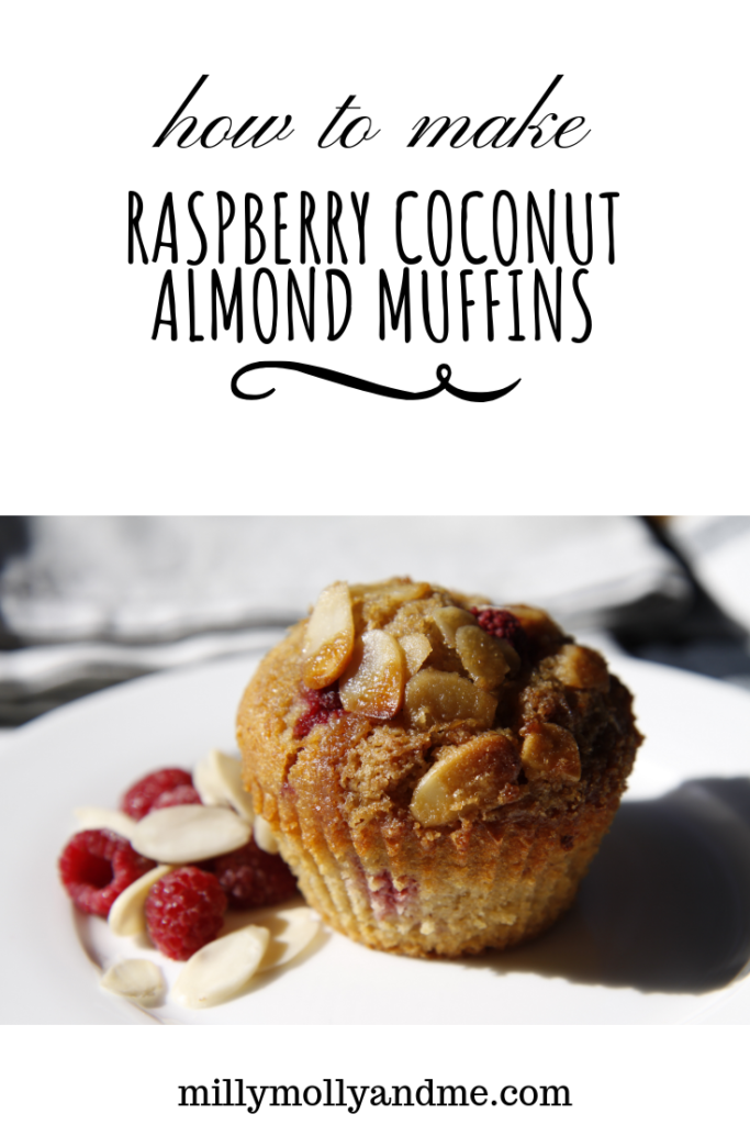 raspberry coconut almond muffins, breakfast, brunch