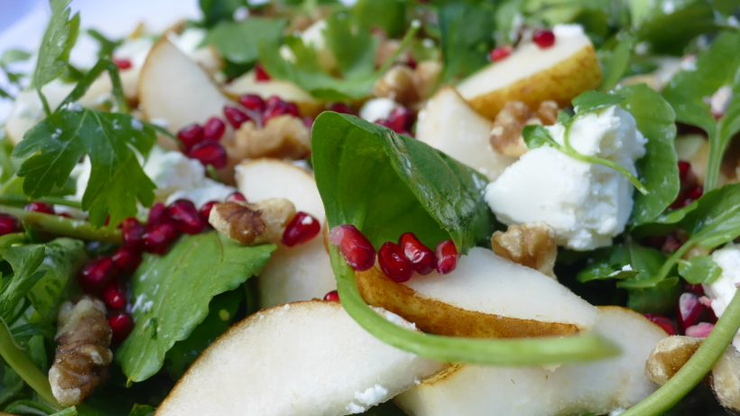 Pear Pomegranate and Goats Cheese Salad