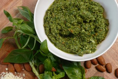 Roasted Almond, Spinach and Basil Pesto