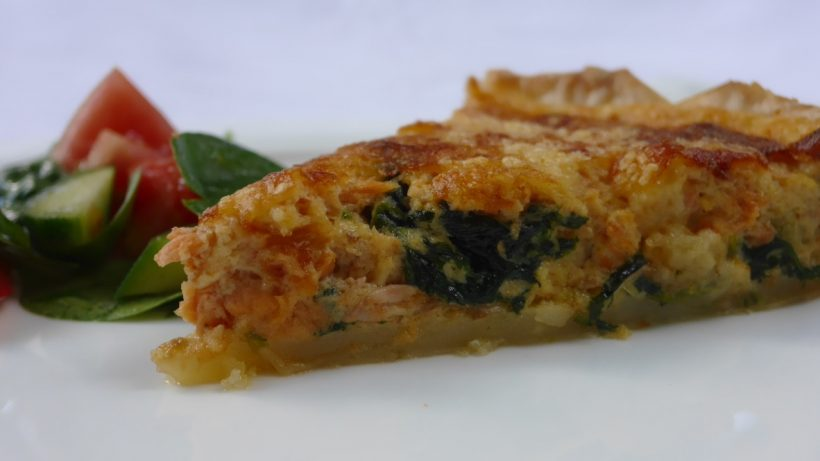 Red salmon and spinach quiche