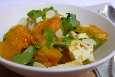 Warm Pumpkin Salad with Almonds and Feta