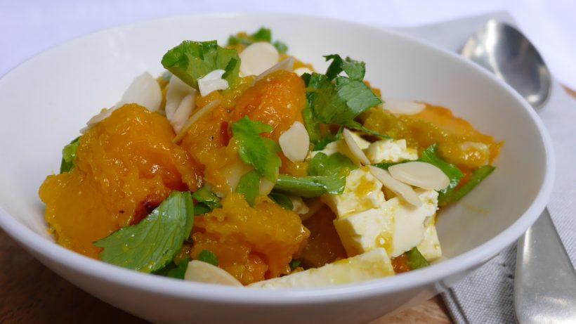 Warm Pumpkin Salad with Almonds and Feta
