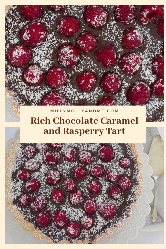 Rich Chocolate Caramel and Raspberry Tart Pin