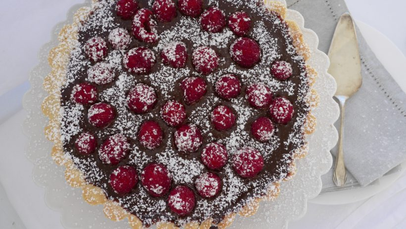 Rich Dark Chocolate Caramel and Raspberry Tart
