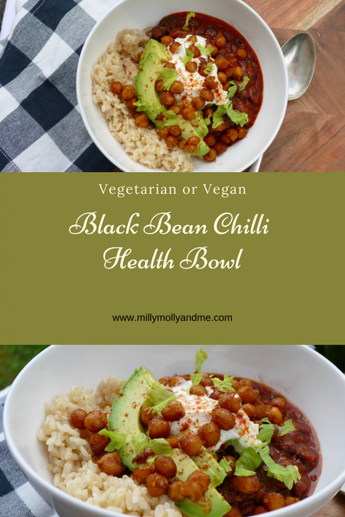 Black Bean Chilli Health Bowl Pin