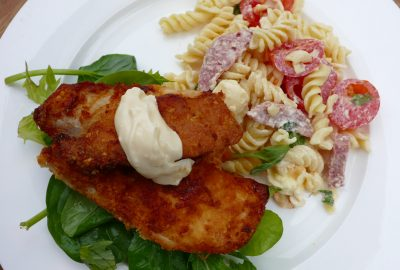 Parmesan Crusted Chicken with Pasta Salad
