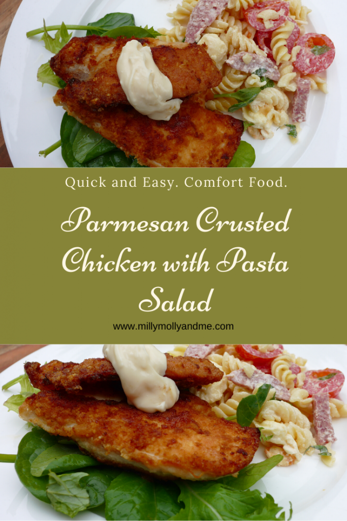 Parmesan Crusted Chicken with Pasta Salad Pin
