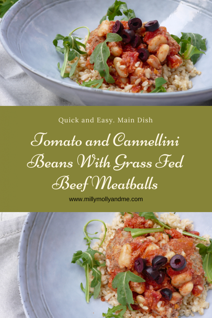 Tomato and Cannellini Beans with Grass Fed Beef Meatballs